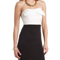 Bow-Topped Strapless Bodycon Dress by Charlotte Russe - Black Combo