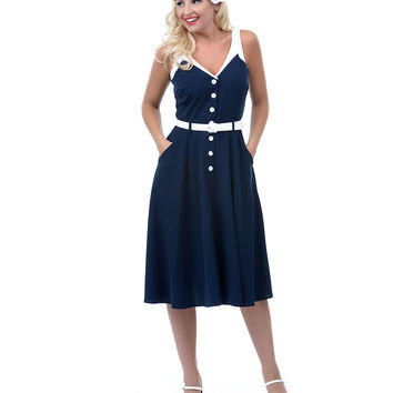 Bettie Page Navy Sea Breeze Swing Dress - Unique Vintage - Prom dresses, retro dresses, retro swimsuits.