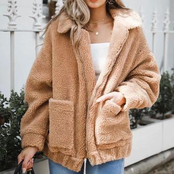 Alpaca Winter Jacket Women Turn Down Collar Thick Coat Women casaco feminino Patchwork Jaqueta Feminina