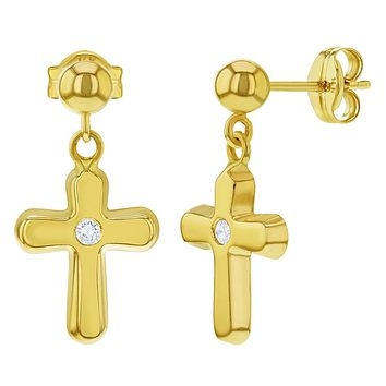 14k Yellow Gold Clear CZ Dangle Cross Religious Earrings for Girls Teens