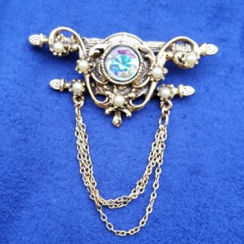 Auora Borealis chained swag gold tone pearl vintage brooch