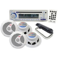 Pyle Stereo Radio Headunit Receiver & Waterproof Speaker Kit, Aux (3.5mm) MP3 Input, USB/MP3 Reader, CD Player, Remote Control, Includes (4) 6.5'' Speakers, Single DIN (White)