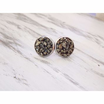 Raw Crushed Pyrite Stud Earrings