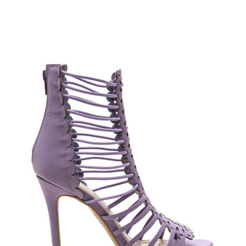 Burning Up Strappy Laser-Cut Heels