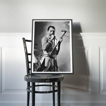 The Queen Poster Freddie Mercury Painting Print