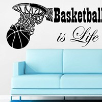 Sports Wall Decal Quotes Basketball Is Life Wall Decals Ball Vinyl Stickers Home Decor C492
