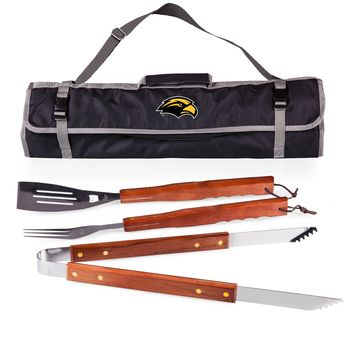 Southern Miss Golden Eagles 3-Pc BBQ Tote & Tools Set-Black Digital Print