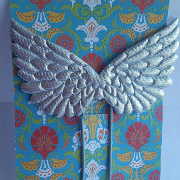 Extra Large Planner Bookmark - Silver Grey Angel Wings Journal Clip - JUMBO Bookmark - Scrapbook Divider