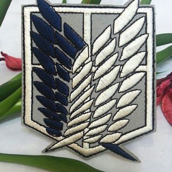 Cool Attack on Titan New 2pcs Anime  Embroidered Patch Cosplay Patches Badge sticker 9.5*7.5cm AT_90_11