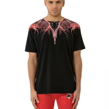 DCCKT3L MARCELO BURLON COUNTY OF MILAN Lightning wings feather print round neck short-sleeved T-shirt