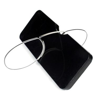 Pince-nez Reading Glasses 1.0 to 3.5 Portable Wallet Reader with Case  nose clip on Mini reading glasses with case