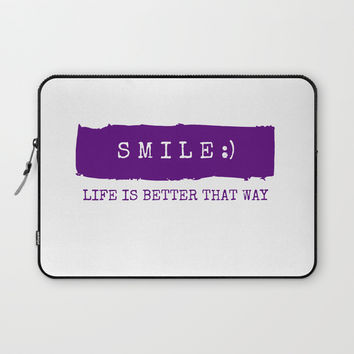 Smile - life is better that way Laptop Sleeve by Love from Sophie