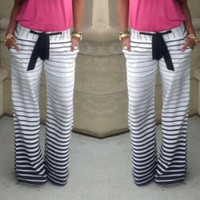 White Striped Drawstring Pants