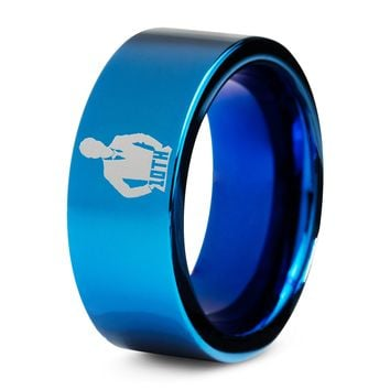 Doctor Who 10th Time Lord Silver Blue Tungsten Ring