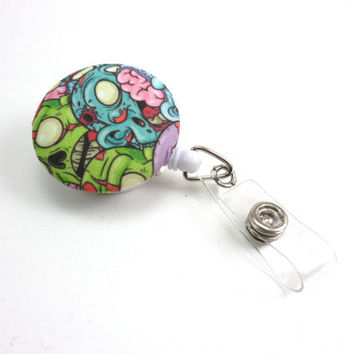 Zombie Retractable Badge Reel, Fabric ID Holder with Swivel Clip