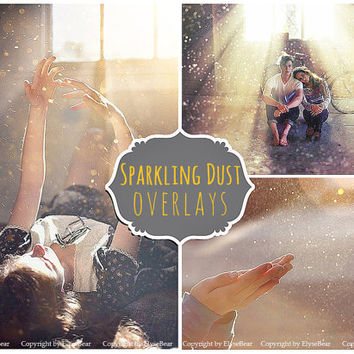 Floating Dust Photoshop Overlays: Sparkling Glitter Professional Photo Layer, Editing Background Backdrops, Photoshoot Enhancement Tool