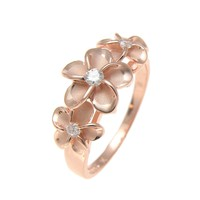 PINK ROSE GOLD PLATED STERLING SILVER 925 HAWAIIAN 3 PLUMERIA FLOWER RING CZ