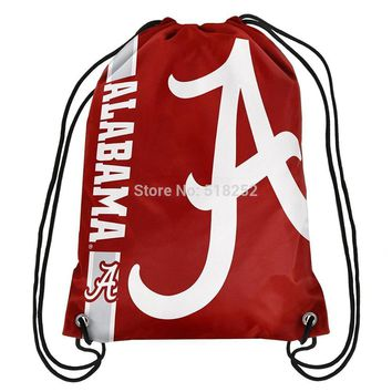 Alabama Crimson Tide Drawstring Backpack Customize Bags NCAA 35x45cm Sports Team,free shipping