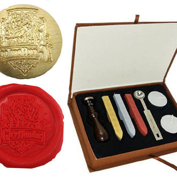 DIY Vintage Harry Potter Re-Created Gryffindor School Badge Wax Seal Stamp Rosewood Wax Sticks Sticker Candle Melting Spoon Gift Box Set