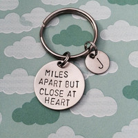 Miles Apart But Close At Heart - Keychain, Necklace, Best Friends, Friendship, Couples, Long Distance, Gift, Initials