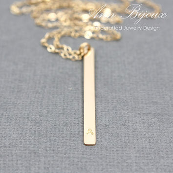 Gold Filled Vertical Bar Minimalist Necklace, Dainty 14K Gold Fill Simple Everyday Necklace, Perfect for layered Necklace, Mother Necklace