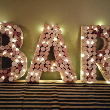 "Wine Cork Bar Sign - 12"" Letters Pre-Lit"