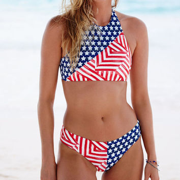 USA Flag Bikini Set Ladies Swimwear Bathing Suits For Women