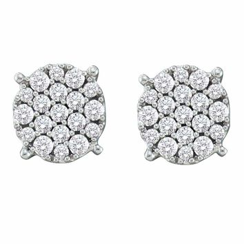 14kt White Gold Women's Round Pave-set Diamond Flower Cluster Earrings 1-2 Cttw - FREE Shipping (USA/CAN)