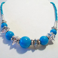 Aqua Blue Beaded Gumball Necklace Graduated Turquoise Jewelry Fashion Accessories For Her