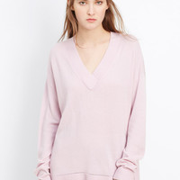 Cashmere Pointelle Trim V-Neck Sweater