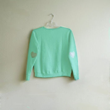 SPRING SALE- Heart Elbow Patch Sweatshirt for Children, Light Mint Green, Wool Patch, Valentine's Day Sweater, Ecosmart