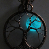 Aqua Czech Glass & Antiqued Copper Glowing Blue Moon Tree of Life, Night Glow Jewelry