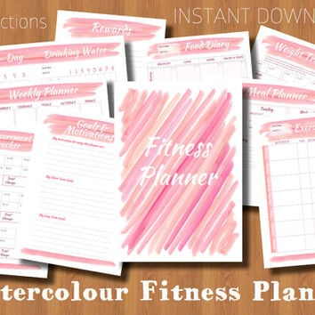 Printable Fitness Planner - Pink Watercolour - Diet, Exercise & Weight Loss Tracker - Health and Fitness Goal Journal - Instant Download PDF