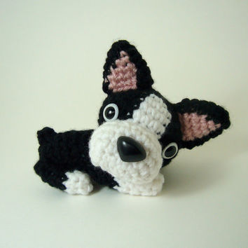SALE / Boston Terrier Stuffed Animal Handmade Crochet Dog Amigurumi Dog / Made to Order