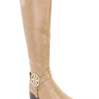 Taupe Rhinestone Pendant Riding Boots Faux Leather