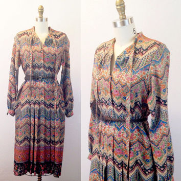 Long sleeve dress- Fall dress- Multicolored dress- Women's fall clothing- 1970s shift- Chevron dress-  Wool dress- Small/ Medium