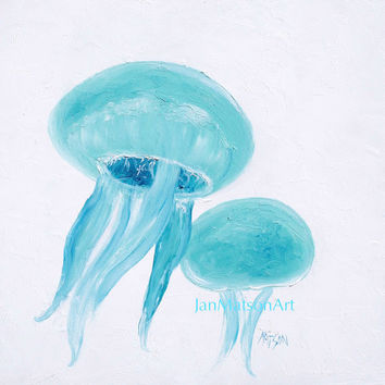 JELLYFISH painting, coastal decor, beach bathroom decor, art, beach cottage decor, beach decor, coastal wall art, coastal cottage decor