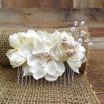 Beach Bridal Hair Accessories,Beach Wedding,Nautical Weddings,Nautical Bride,Starfish Hair Comb,Beach Vow Renewals,Mermaid Hair Accessories,