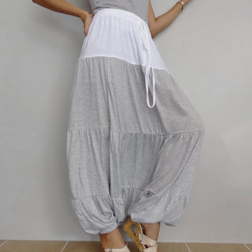 Women Ruffle Long Pant, Casual Gypsy,Yoga,Drop Crotch Bohemian,Cotton Blend in White & Soft Gray (Pant-RM10).