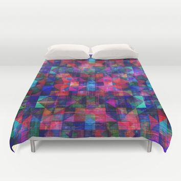 The red city in geometric fantasy pattern Duvet Cover by Jeanette Rietz