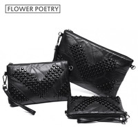 Luxurious Genuine Leather Black Women Messenger Bags Sheepskin Rivet Small Crossbody Bag Clutches Fashion Bolsas Femininas Purse