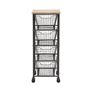 Anywhere Four-Drawer Metal Storage Cart