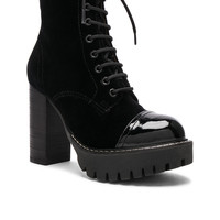 ALEXACHUNG Velvet Heavy Tread Heeled Boot in Black | FWRD
