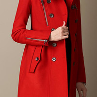 Double Wool Twill Zip Detail Coat