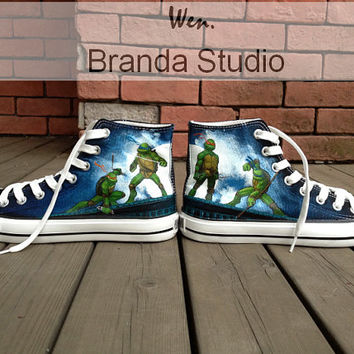 Unique Christmas Gifts Teenage Mutant Ninja Turtles ,Hand Painted Shoes,Hand Paint On Custom Converse Shoes 89 Usd Child Shoes