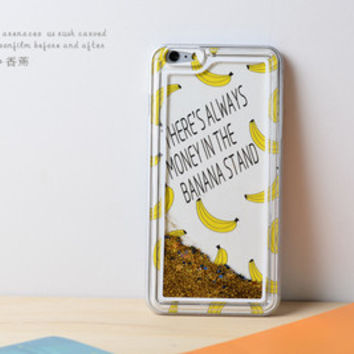 Banana Dynamic Liquid Golden star Glitter Sand Quicksand Star Bling Clear iPhone 6 Plus case Phone Case