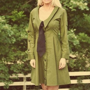 Dieselpunk Aline Dress Retro Army Military Green