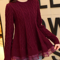 Diamond Pattern Knitted Wool Sweater with Mesh Accent