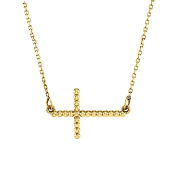 15.5mm Sideways Beaded Cross Necklace in 14k Yellow Gold, 16.5 Inch