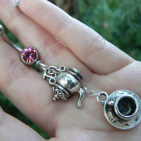 ALICE belly ring tea for two belly ring teapot and tea cup bellybutton ring